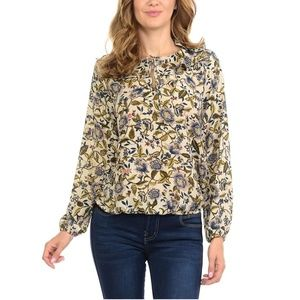 W5 Anthropologie floral ruffle tie neck blouse